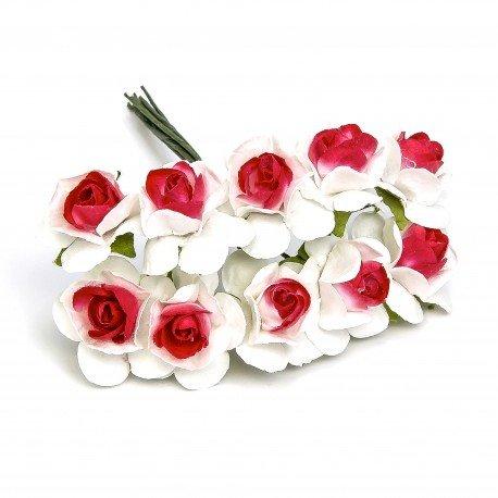 Fleur en papier Blanc et Rouge