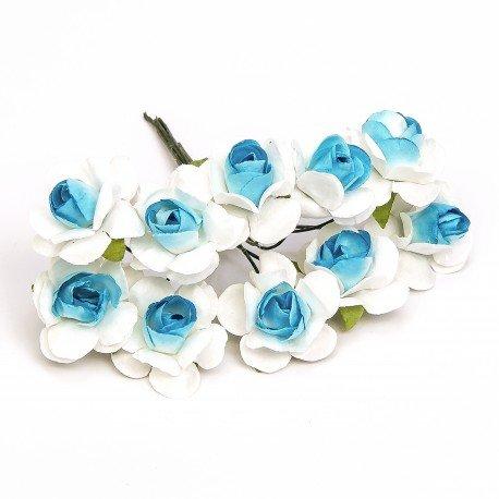Fleur en Papier pas cher Blanc et Bleu