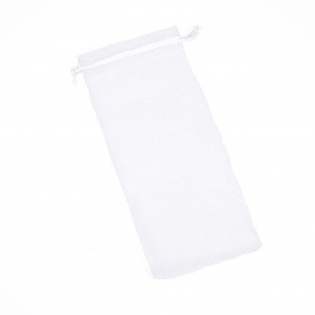 Pochette<strong> Organza </strong>Blanc pour Bouteille 25 x 11