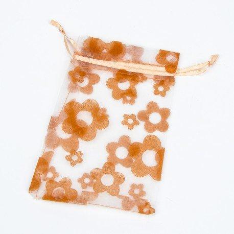 Sachet Organza Fleurs Orange 10 x 7.5