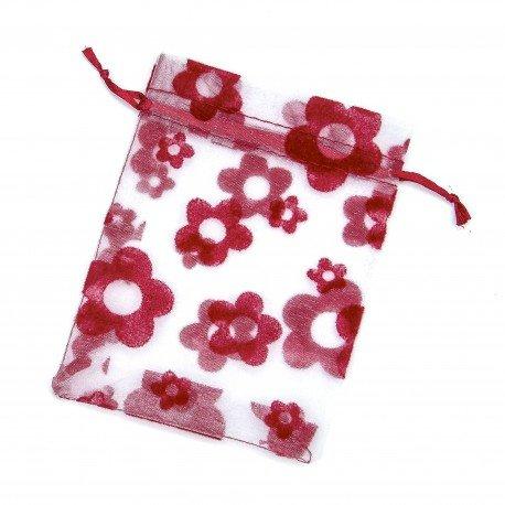 Sac en Organza Fleurs Rouge 8 x 6
