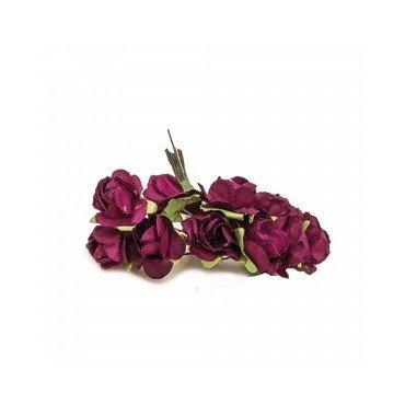 Fleur papier bordeaux