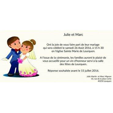 Faire Part Mariage Romantique pas Cher Mrs et Mr Pim