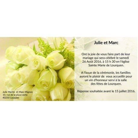 Faire Part Mariage Romantique Fleurs