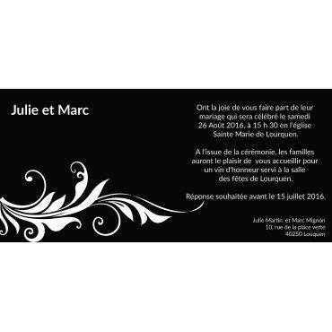 Faire Part Mariage Noir et Blanc Baroque