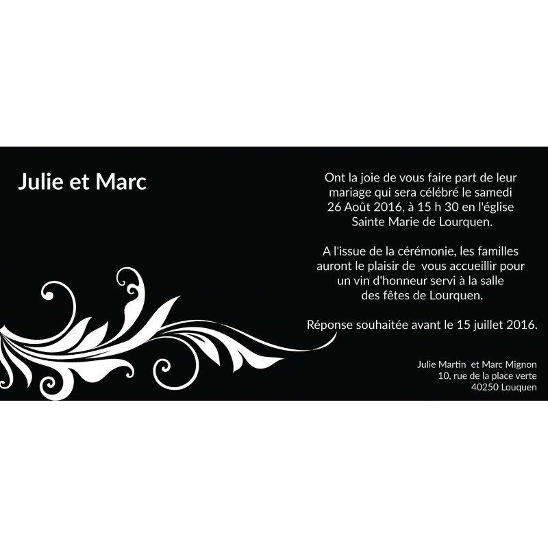 Connu Part Mariage Noir et Blanc Baroque KM85