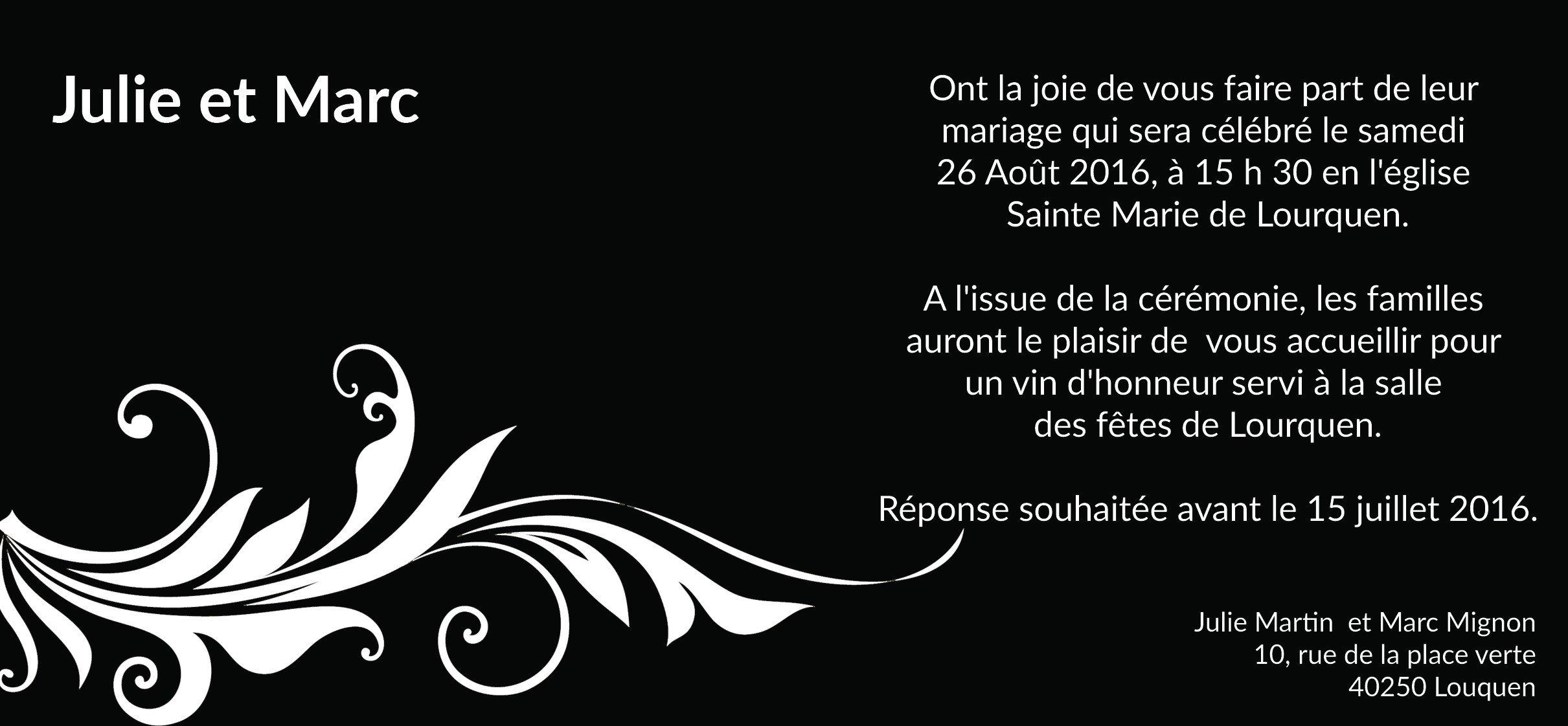Célèbre Faire Part Mariage Noir et Blanc Baroque TR69