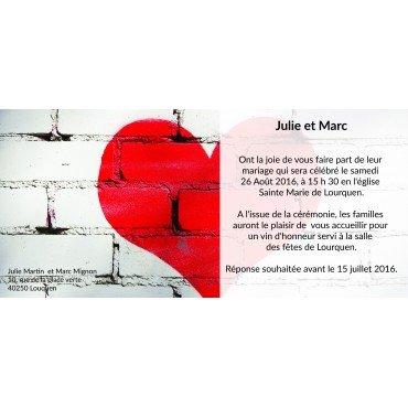 Faire Part Mariage Moderne Gris et Rouge