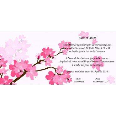 Faire part mariage pas cher fleur de cerisier for Fleurs a livrer a domicile pas cher