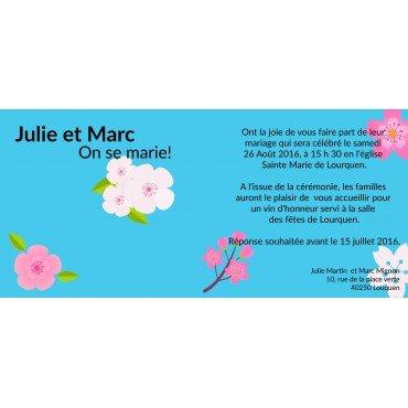 Invitation de Mariage pas Cher Fleurs de Cerisier