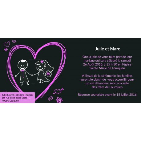 Faire Part de Mariage Original Noir et Coeur Rose