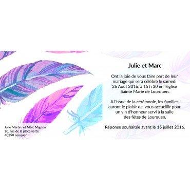 Invitation Mariage Plume pas Cher