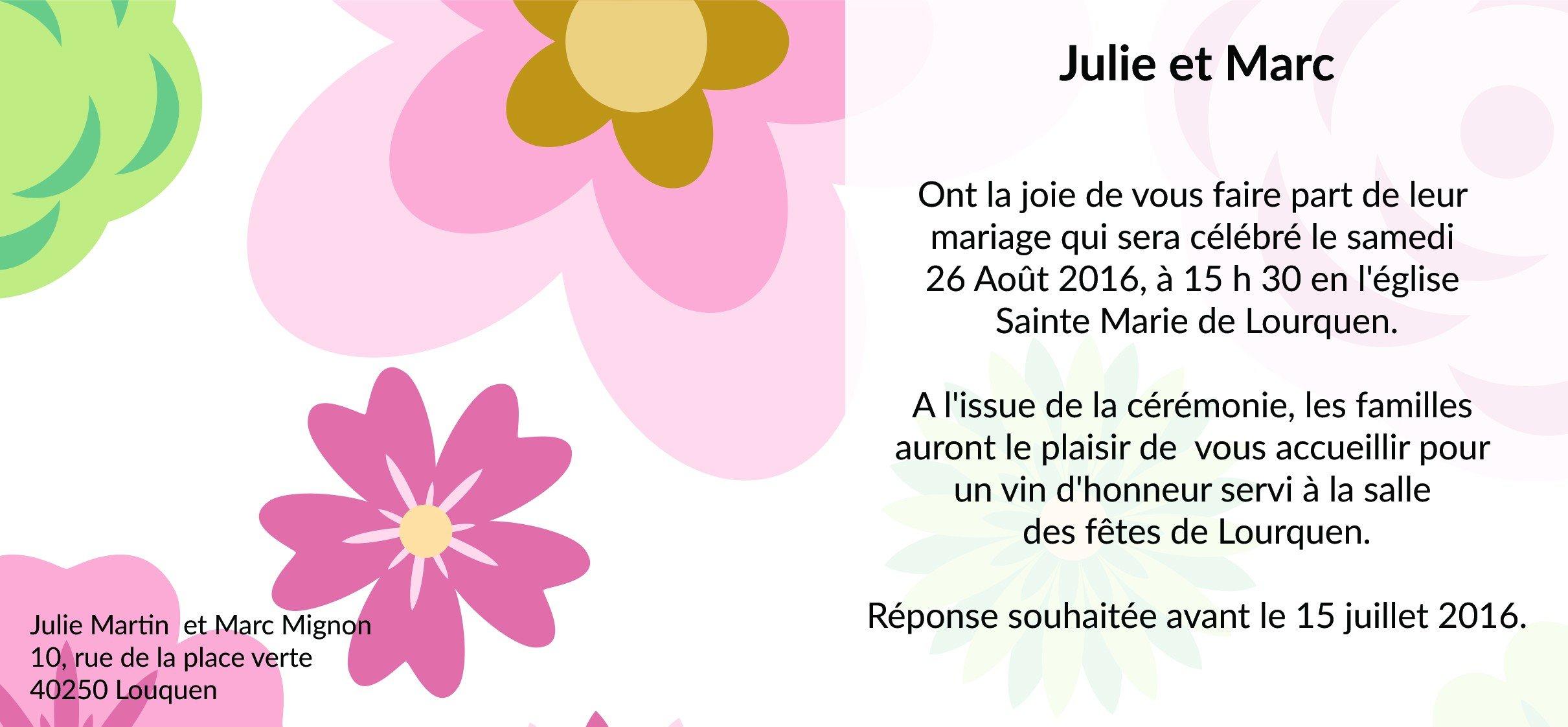 Exemple de texte pour carte d'invitation mariage