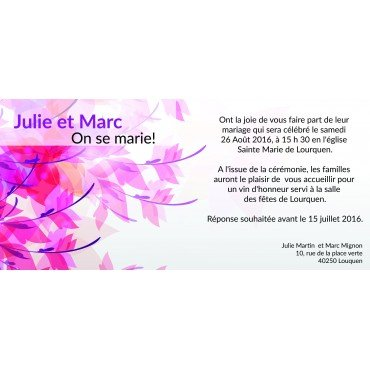 Invitation Faire Part Mariage Fleur