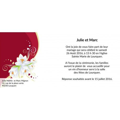 Carte Faire Part Mariage Fleuri