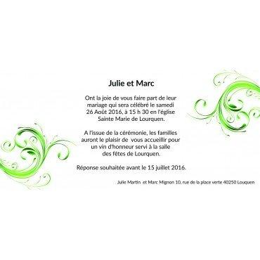Invitations Faire Part Mariage Vert et Blanc