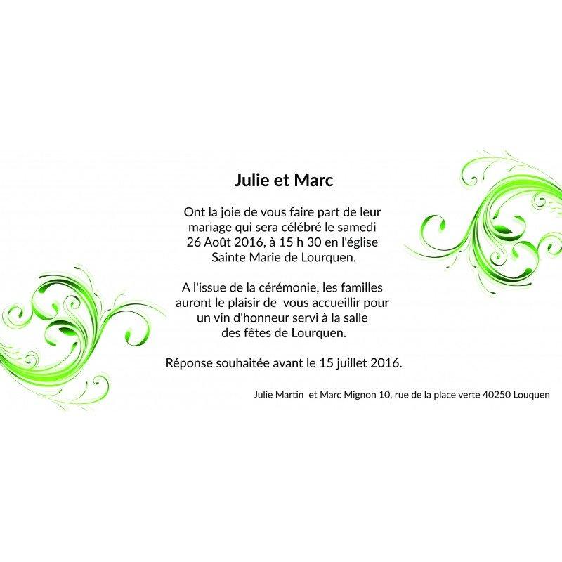 Favori Faire Part Mariage Vert et Blanc JD24