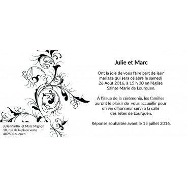 Carte d'Invitation Mariage Baroque