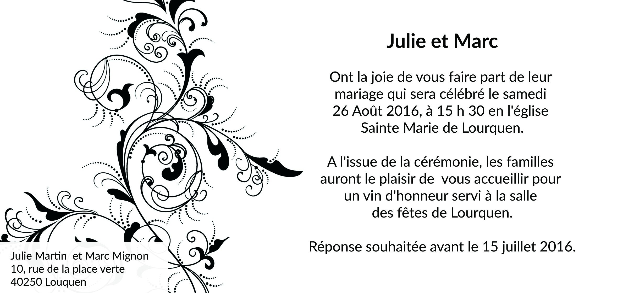 carte d invitation pour le mariage. Black Bedroom Furniture Sets. Home Design Ideas