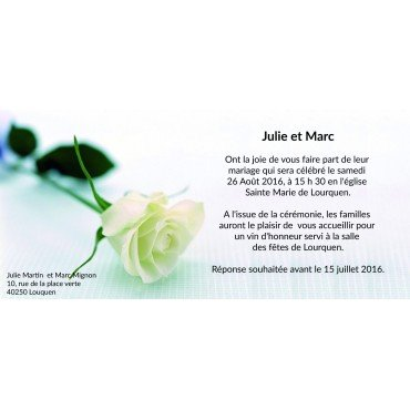 Faire Part Mariage avec Rose Blanche