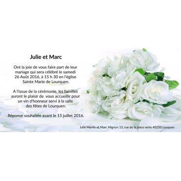 Faire Part Mariage Bouquet de Roses